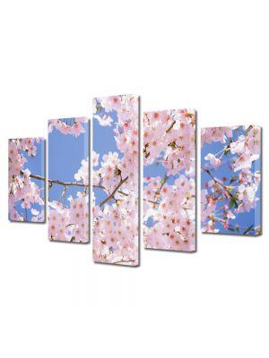 Set Tablouri Multicanvas 5 Piese Flori Ciresi japonezi infloriti