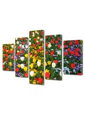 Set Tablouri Multicanvas 5 Piese Flori Culori amestecate