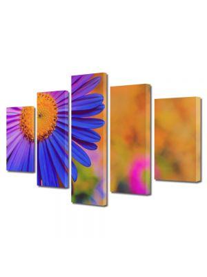 Set Tablouri Multicanvas 5 Piese Flori Violet inflorit