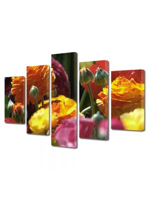 Set Tablouri Multicanvas 5 Piese Flori Culori pale
