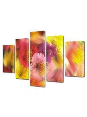 Set Tablouri Multicanvas 5 Piese Flori Vartej de culori