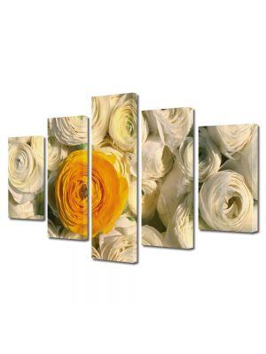 Set Tablouri Multicanvas 5 Piese Flori Floare portocalie printre flori albe
