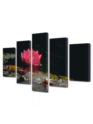 Set Tablouri Multicanvas 5 Piese Flori Floare de nufar