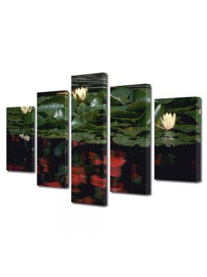 Set Tablouri Multicanvas 5 Piese Flori Nuferi albi