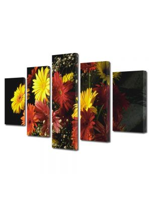 Set Tablouri Multicanvas 5 Piese Flori Buchet colorat