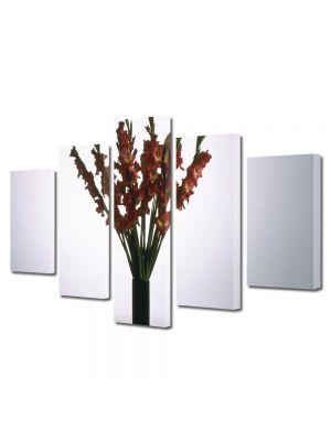 Set Tablouri Multicanvas 5 Piese Flori Flori rosii in vaza