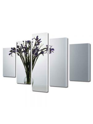 Set Tablouri Multicanvas 5 Piese Flori Flori violet in vaza