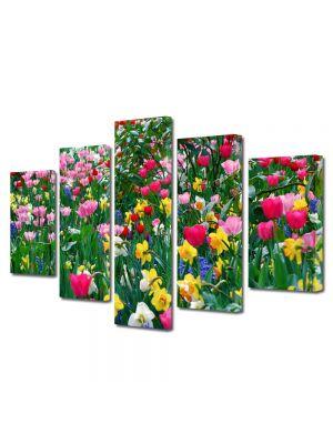 Set Tablouri Multicanvas 5 Piese Flori Multicolor