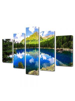 Set Tablouri Multicanvas 5 Piese Flori Lac montan