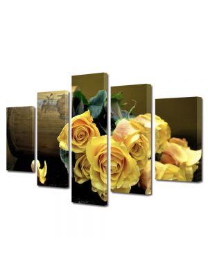 Set Tablouri Multicanvas 5 Piese Flori Buchet de trandafiri galbeni