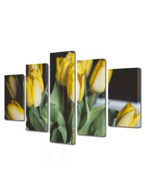 Set Tablouri Multicanvas 5 Piese Flori Buchet lalele galbene