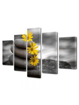 Set Tablouri Multicanvas 5 Piese Flori Relaxare