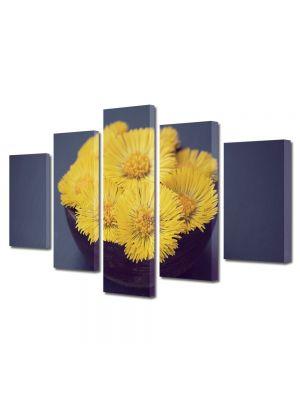 Set Tablouri Multicanvas 5 Piese Flori Floricele galbui
