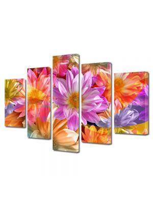 Set Tablouri Multicanvas 5 Piese Flori Flori fantastice