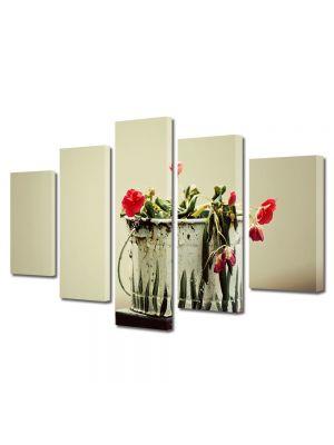 Set Tablouri Multicanvas 5 Piese Flori Culori naturale