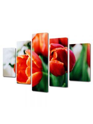 Set Tablouri Multicanvas 5 Piese Flori Portocaliu puternic