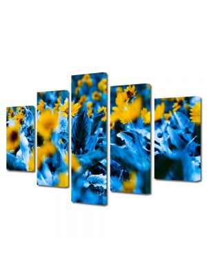 Set Tablouri Multicanvas 5 Piese Flori Flori cu frunze albastre