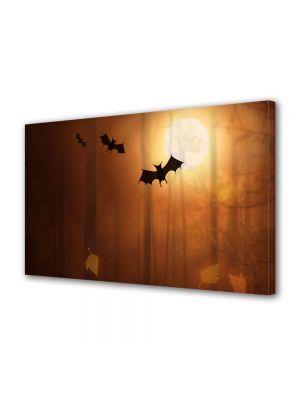 Tablou Canvas Halloween Siluete lilieci In lumina apusului