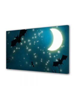 Tablou Canvas Halloween Lilieci zboara sub cerul instelat