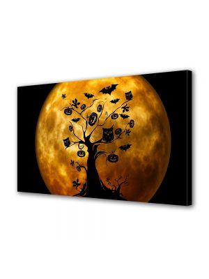 Tablou Canvas Halloween Copac Halloween portocaliu