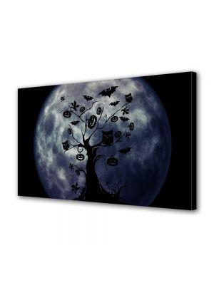 Tablou Canvas Halloween Copac Halloween albastru