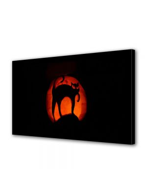 Tablou Canvas Halloween Lampa pisica neagra