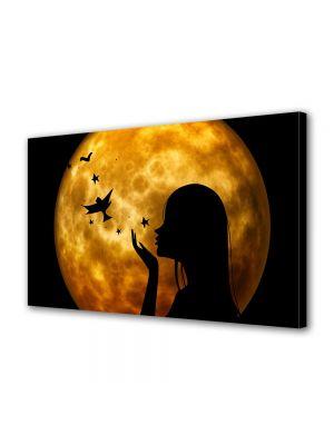 Tablou Canvas Halloween Luna plina si silueta femeie