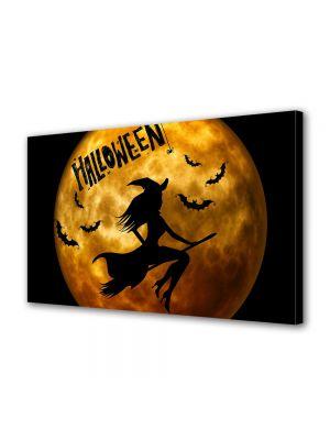 Tablou Canvas Halloween Luna portocalie si vrajitoare