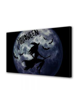 Tablou Canvas Halloween Luna albastra si vrajitoare