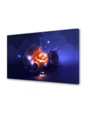 Tablou Canvas Halloween Pisicuta si dovleac