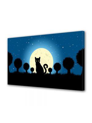 Tablou Canvas Halloween Desen pisica neagra cu ochi verzi