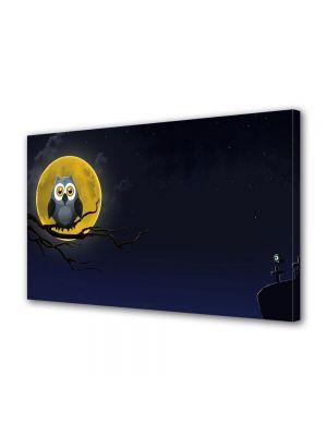 Tablou Canvas Halloween Desen bufnita pe creanga