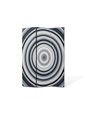 Paravan de Camera ArtDeco din 3 Panouri Abstract Decorativ Cercuri B&W 105 x 150 cm