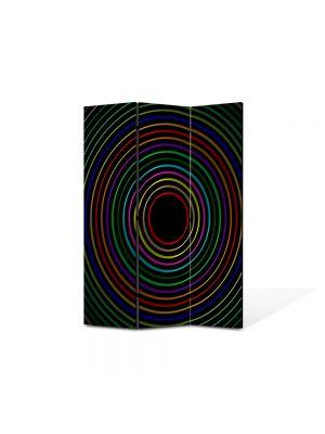 Paravan de Camera ArtDeco din 3 Panouri Abstract Decorativ Cercuri colorate 105 x 150 cm