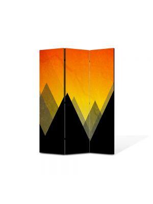 Paravan de Camera ArtDeco din 3 Panouri Abstract Decorativ Munti 105 x 150 cm