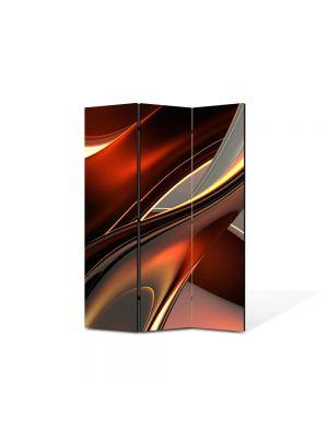 Paravan de Camera ArtDeco din 3 Panouri Abstract Decorativ Inele de plastic 105 x 150 cm