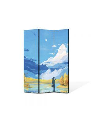 Paravan de Camera ArtDeco din 3 Panouri Abstract Decorativ Animatie 105 x 150 cm