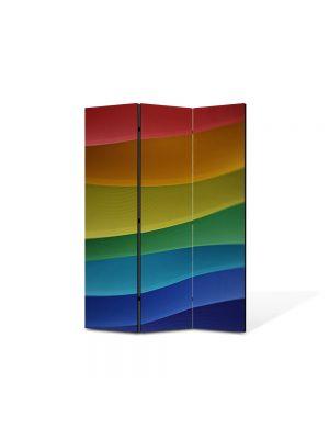 Paravan de Camera ArtDeco din 3 Panouri Abstract Decorativ Dealuri multicolore 105 x 150 cm