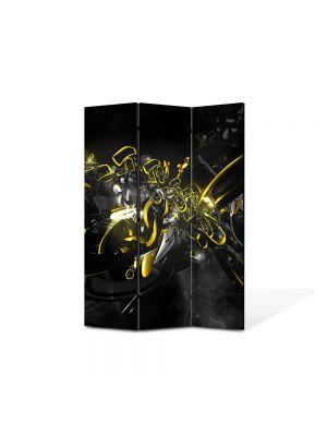 Paravan de Camera ArtDeco din 3 Panouri Abstract Decorativ Compozitie cu galben si negru 105 x 150 cm