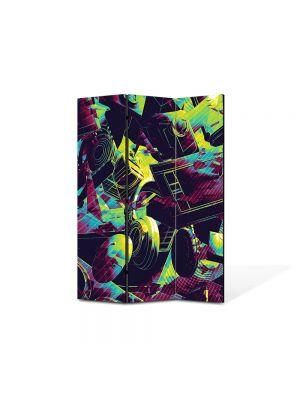 Paravan de Camera ArtDeco din 3 Panouri Abstract Decorativ Culori vintage 105 x 150 cm
