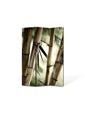 Paravan de Camera ArtDeco din 3 Panouri Abstract Decorativ Bambus 105 x 150 cm