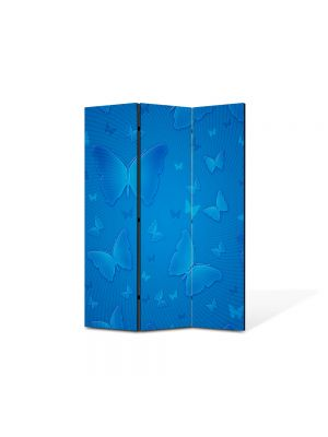 Paravan de Camera ArtDeco din 3 Panouri Abstract Decorativ Fluturi albastri 105 x 150 cm