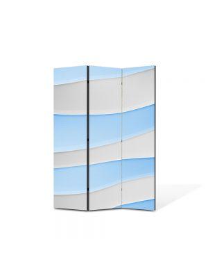 Paravan de Camera ArtDeco din 3 Panouri Abstract Decorativ Dealuri albe si Bleu 105 x 150 cm