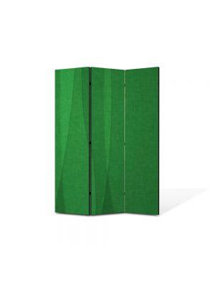 Paravan de Camera ArtDeco din 3 Panouri Abstract Decorativ Matase verde 105 x 150 cm