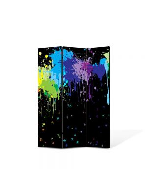 Paravan de Camera ArtDeco din 3 Panouri Abstract Decorativ Pete colorate 105 x 150 cm