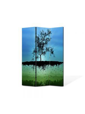 Paravan de Camera ArtDeco din 3 Panouri Abstract Decorativ Copac plutitor 105 x 150 cm