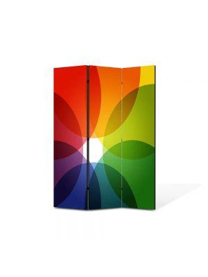 Paravan de Camera ArtDeco din 3 Panouri Abstract Decorativ Nuante de culoare 105 x 150 cm
