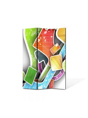 Paravan de Camera ArtDeco din 3 Panouri Abstract Decorativ Asezare artistica 105 x 150 cm