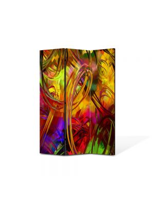 Paravan de Camera ArtDeco din 3 Panouri Abstract Decorativ Colorat 105 x 150 cm
