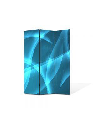 Paravan de Camera ArtDeco din 3 Panouri Abstract Decorativ Lumina Bleu 105 x 150 cm